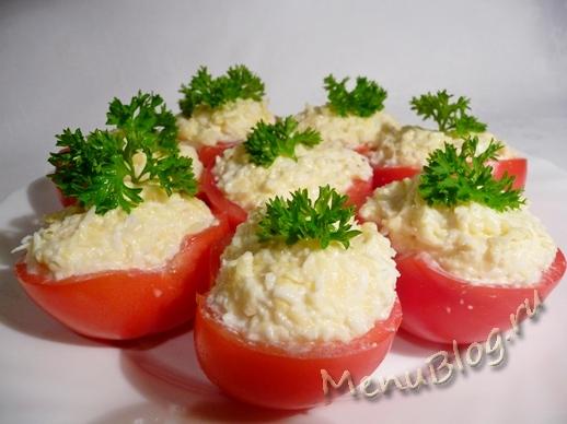 помидоры фаршированные сыром и чесноком1