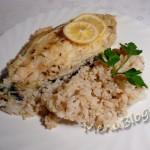 стейк из белой рыбы с рисом